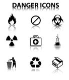 Danger icons. Nine Black Vector Danger Icons Royalty Free Stock Image