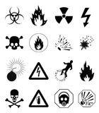Danger Icons. Black symbols danger icons, design element Stock Image