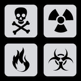 Danger icons. Over black background vector illustration Royalty Free Stock Photo