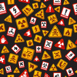 Danger icons seamless pattern vector illustration. Signs of danger seamless pattern. Illustration graphic orange construction death fire objects background for Stock Photo