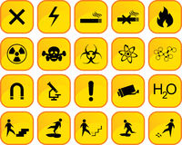 Danger icons. Twenty danger icons in one file Royalty Free Stock Photography