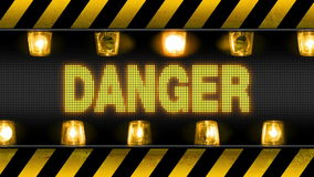 Danger Industrial Wall Barricade. Industrial border with DANGER text and flashing orange warning lights. Seamless looping video animation stock illustration
