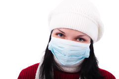 Danger of infection. Portrait of the woman in a medical bandage on a white background Royalty Free Stock Photography