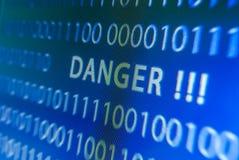 Danger inscription on monitor Stock Photos