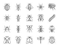 Danger Insect charcoal draw line icons vector set. Danger insect charcoal icons set. Grunge outline sign kit of bugs. Beetle linear icon collection includes royalty free illustration