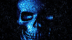 Danger in the Internet. Malicious code hacker. Skull Royalty Free Stock Image