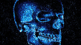 Danger in the Internet. Malicious code hacker. Skull Stock Photography