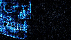 Danger in the Internet. Malicious code hacker. Skull Royalty Free Stock Photography
