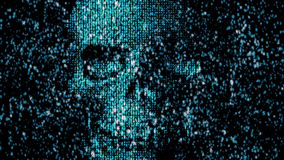 Danger in the Internet. Malicious code hacker. Skull Royalty Free Stock Photos