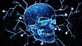 Danger in the Internet. Malicious code hacker. Skull stock video footage