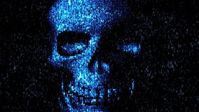 Danger in the Internet. Malicious code hacker. Skull stock footage