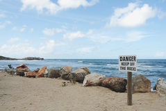 Danger keep off the rocks Royalty Free Stock Image