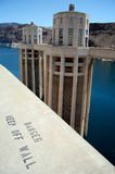 Danger Keep Off The Wall. Sign situated high above the water at the Hoover Dam in Nevada, USA Royalty Free Stock Photos