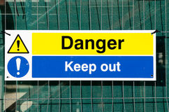 Danger Keep Out sign. Construction site danger Keep Out sign stock photography