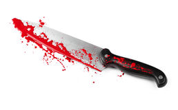 Danger with Knives. A blood covered knife isolated on white Stock Photo