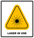 Danger laser radiation Class I symbol in yellow triangle isolated on white with text Royalty Free Stock Images