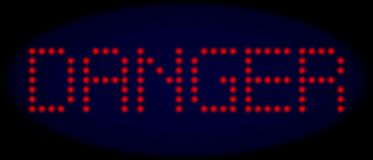 DANGER Led Style Text with Glowing Dots royalty free illustration