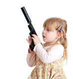 Danger - little girl with gun Royalty Free Stock Photo