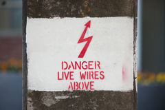 Danger live wires above Stock Photography