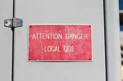 Danger Local CO2 sign Royalty Free Stock Image