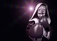 Danger looking young boxing fighter portrait Stock Photos
