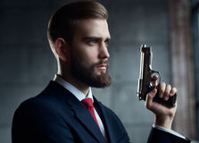 Danger man with gun Stock Photos