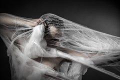 Danger.man verwirrt im enormen weißen Spinnennetz Stockbild