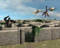 Danger Maze Risk Monsters Beasts Illustration Stock Images