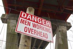 Danger Men Working Overhead Sign Stock Images