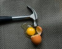 Danger. A metal hammer smashes an egg Stock Photos