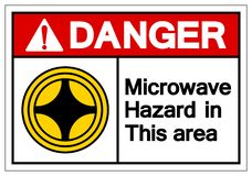 Danger Microwave Hazard In This Area Symbol Sign, Vector Illustration, Isolate On White Background Label. EPS10 stock illustration