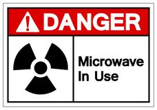 Danger Microwave In Use Symbol Sign, Vector Illustration, Isolate On White Background Label. EPS10 royalty free illustration