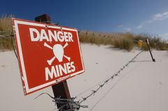 Danger mines sign 2. Minefield site in Falkland Islands Stock Photos