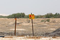 Danger mines sign at the Israel-Syria border. Israel, April 2016. Stock image photo illustration Royalty Free Stock Image