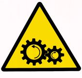 Danger, moving machinery sign . royalty free illustration
