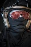 Danger, murderer with motorcycle helmet and guns Stock Photos
