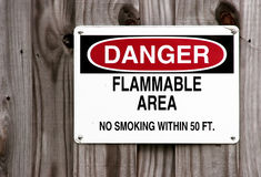 Danger - ne fumez pas - Image stock