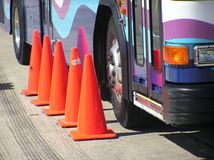 Danger Near!. A bus from the 2006 bus roadeo competition in Wilmington, NC Royalty Free Stock Photo