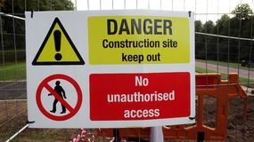 Danger, No Access. Danger and no access warning sign stock images