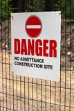 A Danger No Admittance Construction Site sign stock photo