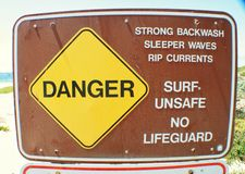 Danger No lifeguard Royalty Free Stock Images