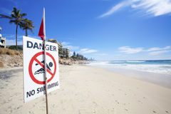Danger No Swimming. Sign on eroded Australian beach Stock Photography