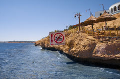 Danger no swimming. Dangerous place to swim in Egypt Royalty Free Stock Images