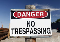 Danger No Trespassing Sign Royalty Free Stock Photos