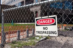 Danger no trespassing - Sign Stock Images