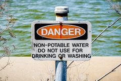 Danger Non-potable water sign royalty free stock images