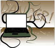 Danger Online. Illustration of a laptop computer with tentacles and the word Danger in a grunge style Stock Images