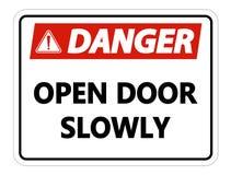 symbol Danger Open Door Slowly Wall Sign on white background vector illustration