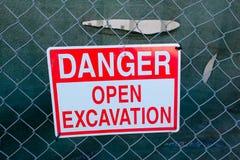 Danger Open Excavation Sign Stock Photo