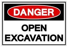 Danger Open Excavation Symbol Sign, Vector Illustration, Isolate On White Background Label. EPS10 royalty free illustration